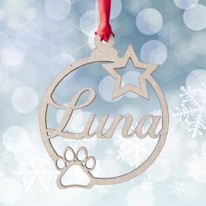 Esfera de navidad con huella de perro-gato