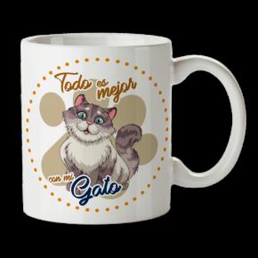 Taza gato personalizada con...